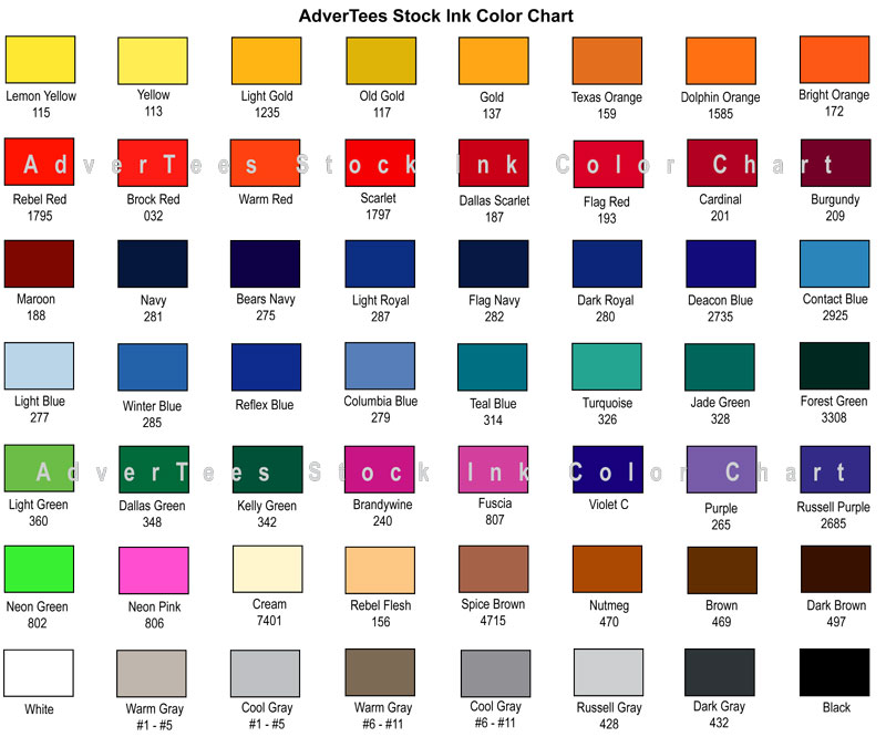 Stock Ink Color Chart Advertees